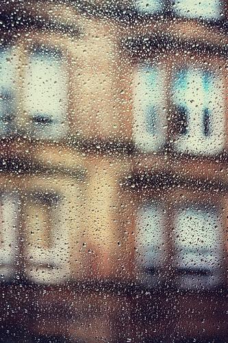 Glasgow tenements on a rainy day