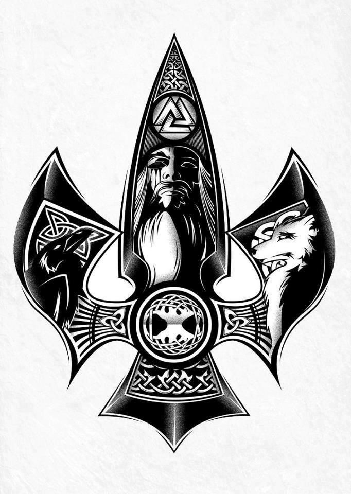 Odin, raven, wolf <<huginn or munnin? And probably fenrir the wolf. Theres also Yggsdrasil and some classic symbols including Odins symbol