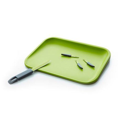 Plastic Cutting Board with Hidden knife and Mini Fork Set, Green