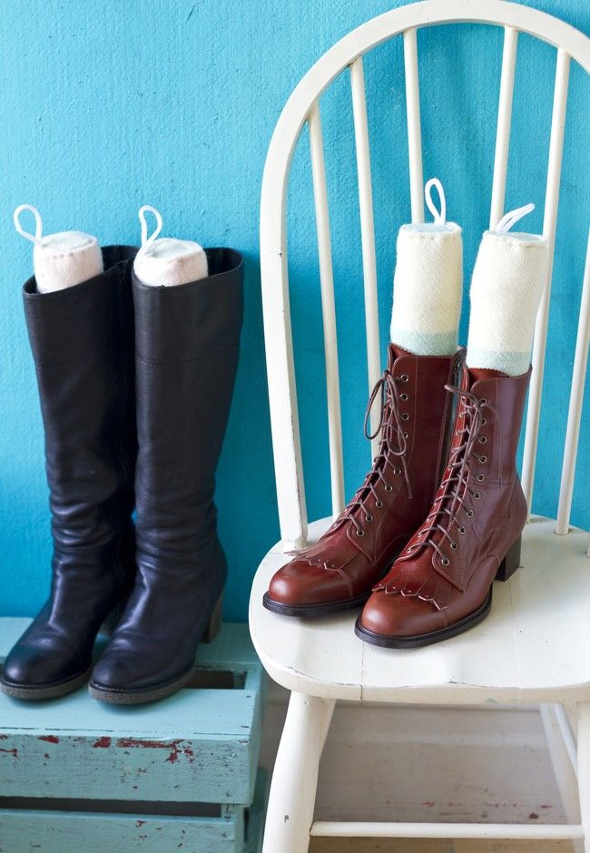 Sick of your tall boots falling over in a tangled scuffed heap? Here's an easy and quirky way for a tidy shoe space and no more floppy boots.