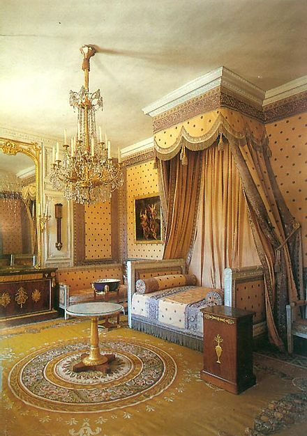 Napoleon's bedchamber in the Grand Trianon, Versailles epitomizes the neoclassical style of the First French Empire