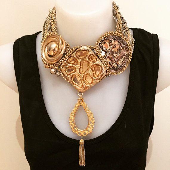 SAGITARIUS gold huge super statement statement bib collage necklace
