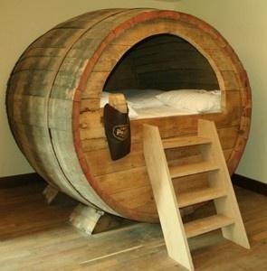 Unique Bed that Made of A Historic Beer Barrel in Landhotel Beverland