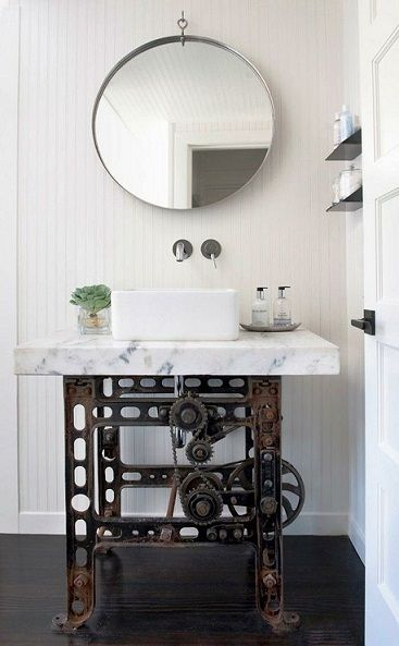 Bathroom Vanity Industrial Style Via Homeportfolio  Http://www.homeportfolio.com/