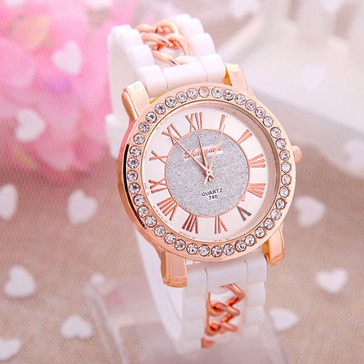 Zegarek damski opaska sylikonowa łańcuszek różne kolory