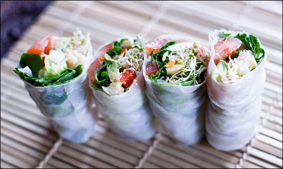 "Delicious. Easy. Good for you! Vegan Cold Rice Paper Rolls with Chickpea ""Tuna"" & Grilled Portobello"