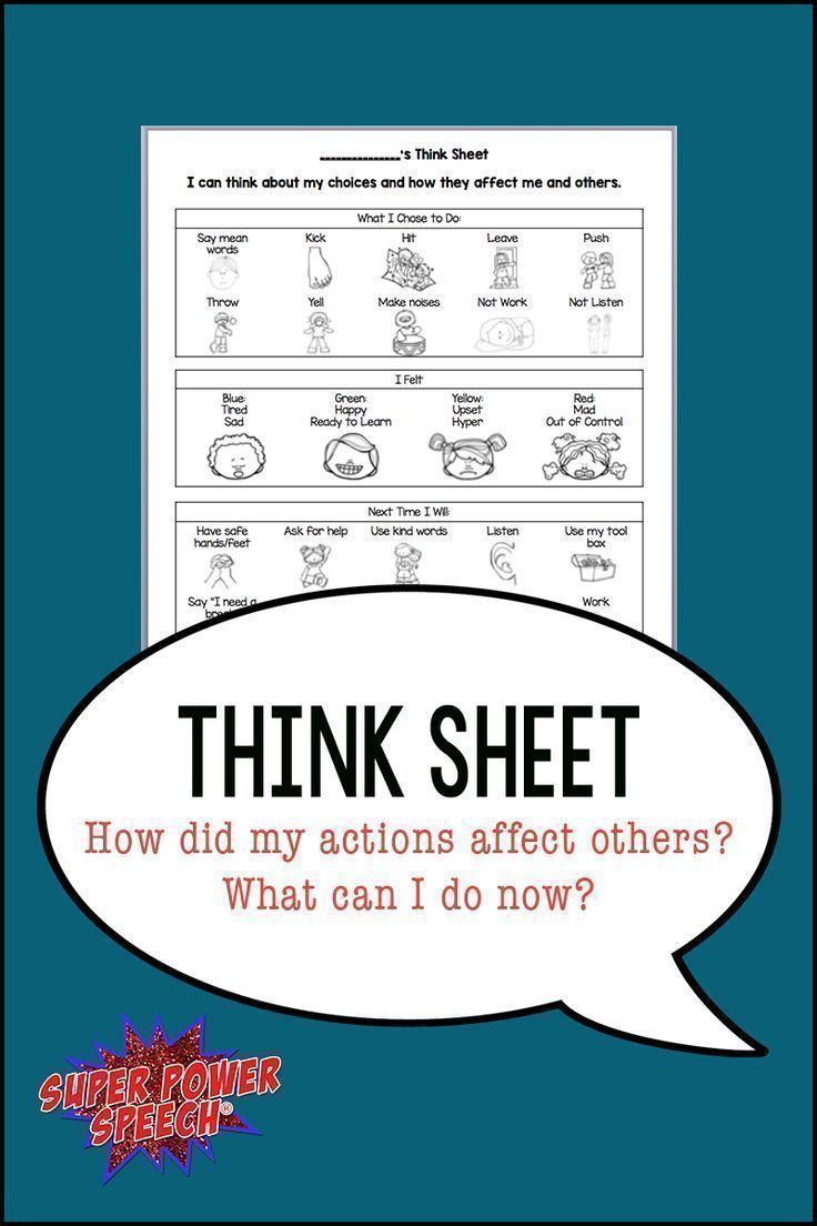 Autism Behaviors Do They Reflect >> Think Sheet How Did My Actions Affect Others Slp Think Sheet