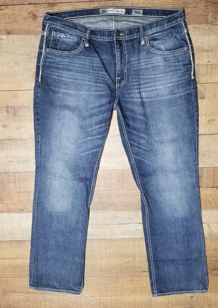 d742b65c418 Mens BKE jeans Size 38 Derek Straight Buckle 38x32 Thick Stitch white Dark  wash  Buckle  ClassicStraightLeg