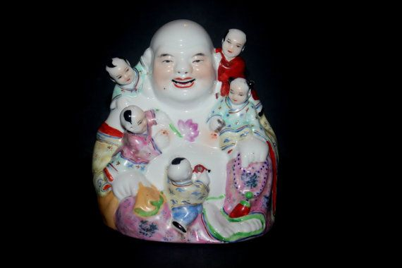 Antique Porcelain Buddha Family, Baby, Good Luck, Chinese 1930, Home Decor, Antique Alchemy on Etsy, $90.26 CAD