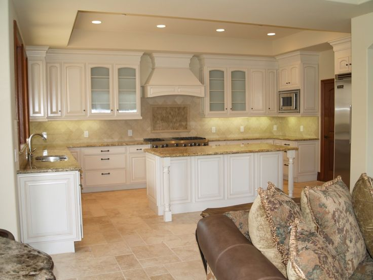 Kitchen, Charming U Shape Kitchen Using White Wood Kitchen Cabinet Along  With Cream Granite Counter