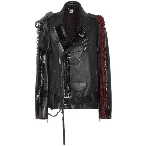 Vetements Embellished Leather Biker Jacket (€5.090) ❤ liked on Polyvore featuring outerwear, jackets, black, moto jacket, leather jackets, leather motorcycle jacket, rider leather jacket and real leather jackets