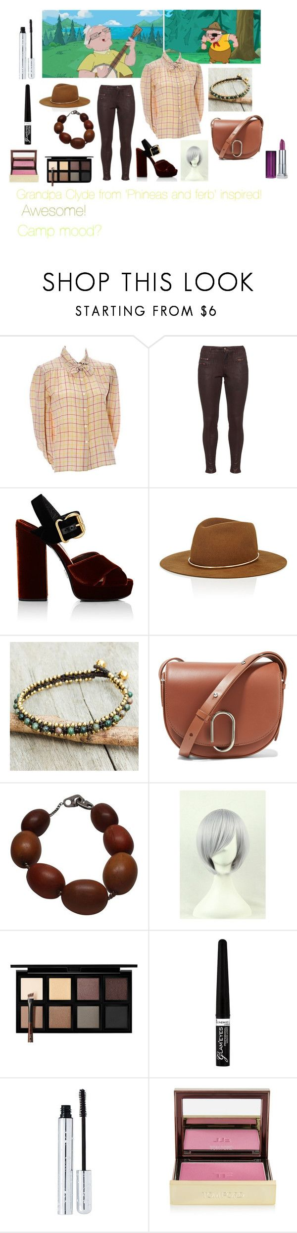 """For Scarlett (friend) - Scarlett's ideal wardrobe by me: Grandpa Clyde from 'Phineas and ferb' inspired!"" by sarah-m-smith ❤ liked on Polyvore featuring Valentino, Zizzi, Prada, Janessa Leone, NOVICA, 3.1 Phillip Lim, Patricia von Musulin, Down to Earth, Rimmel and 100% Pure"