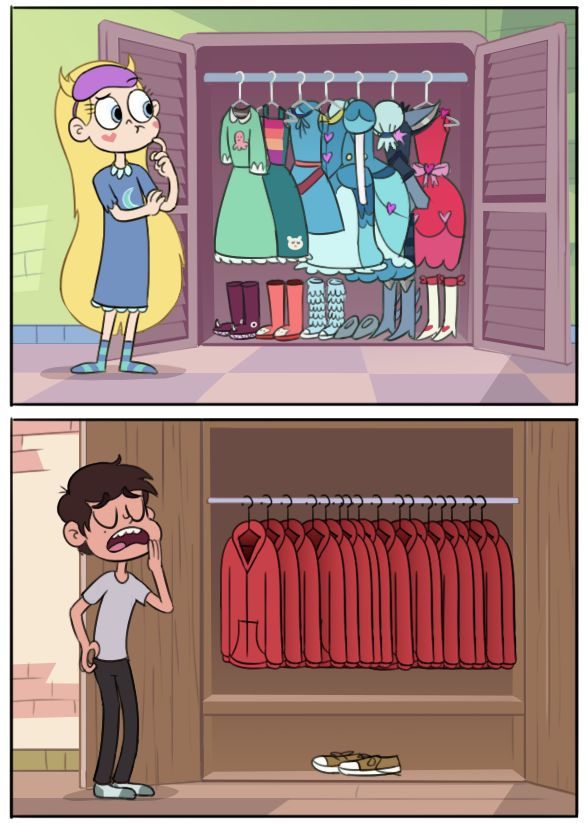 I love how star has several pairs of clothes! Usually the characters are like marco, who only chang clothes during some occasions