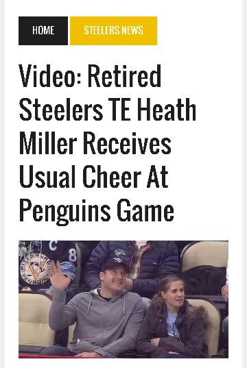 Heath Miller was at the Penguins game tonight 4/3/16