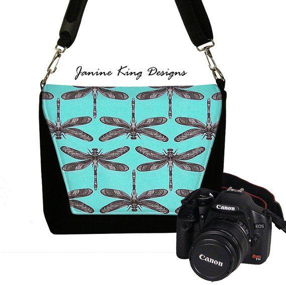 Womens Padded DSLR Camera Bag Slr Camera Bag Purse Dragonfly Deluxe Messenger Camera Bag Zipper Pocket   Turquoise Blue Black via Etsy