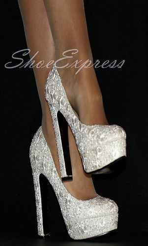 LADIES/ white silver lace/HIGH HEEL PLATFORM WEDDING PARTY SHOES