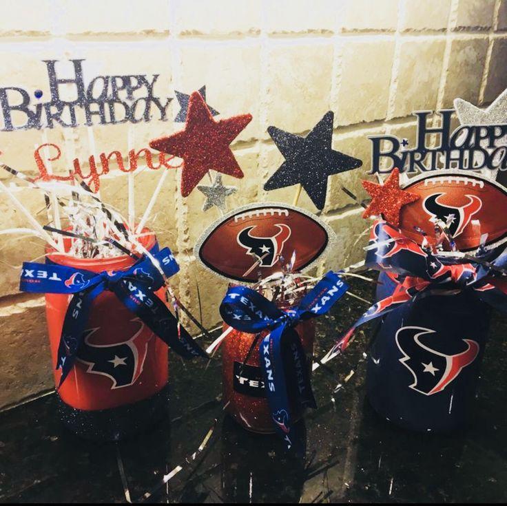 Mason Jar Centerpieces for NFL Texans Birthday Party
