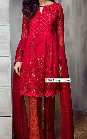 674def54b2 Red Chiffon Suit | Buy Iznik Pakistani Dresses and Clothing online in USA,  UK