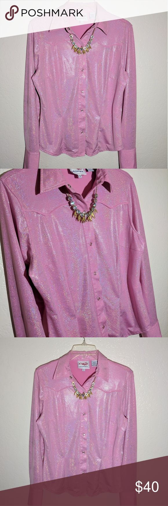 Iridescent Western Button up. This top is so fun and crazy! But it wears really cute and is a high quality expensive top. Would be great as a performance piece for a dancer, singer, rodeos etc. Or could make a killer Western Barbie costume for Halloween 😉 Runs big, could fit medium easily! One small mark on the sleeve and side, pictured. Roper Tops Button Down Shirts