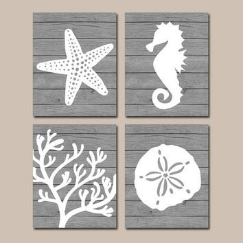 Gallery For Website Beach BATHROOM Wall Art CANVAS or Prints Nautical Coastal Bathroom Decor Aqua Starfish