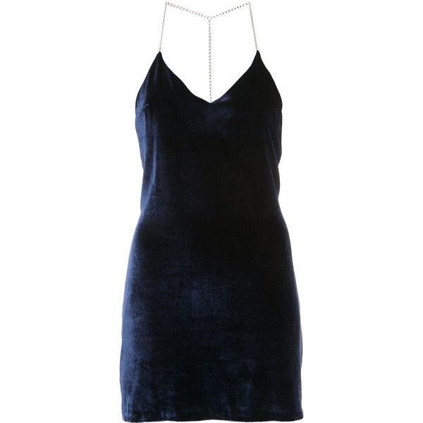 Amiri Chain Strap Low-Back Slip Dress (3.400 BRL) ❤ liked on Polyvore featuring dresses, blue, low back dress, plunge back dress, blue slip dress, blue dress and slip dresses