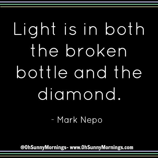 """""""Light is in both the broken bottle and the diamond."""" - Mark Nepo"""