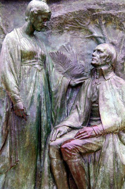 Paris Jardin des plantes statue bronze Jean-Baptiste de Lamarck par Léon Fagel lui-même et sa fille