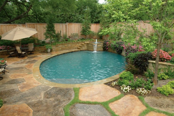 Pool Landscaping | Overhead view of pool with a custom designed stamped concrete deck in ...