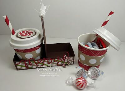 CUTE! Merry Little Coffee Cups. Mini coffee cups to fill with treats. Tutorial for mini cup holder || Inking Idaho