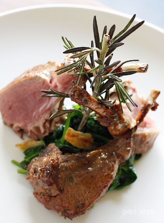 Rack of Lamb with Dijon Glaze over Wilted Baby Spinach - One of my favorite ways to eat lamb. #Easter #weightwatchers