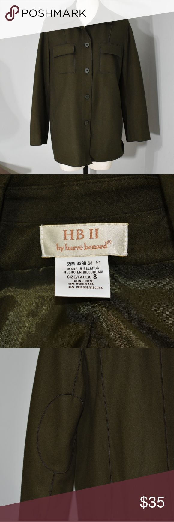 Harve Benard Vtg Military Style elbow patch jacket Size 8 • Wool blend • Green • EUC Harve Benard Jackets & Coats