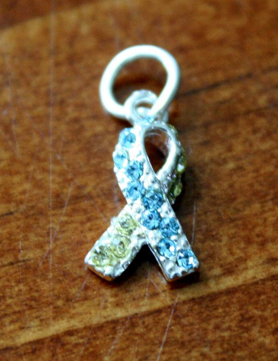 Down Syndrome Awareness Ribbon Yellow and Blue Crystal Charm, Down Syndrome Pendant Jewelry