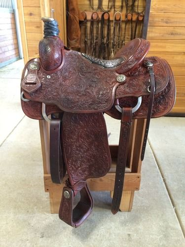 Calf Roping Saddle for Sale (Burns built Hogg Tree) - For more information click on the image or see ad # 41046 on www.RanchWorldAds.com