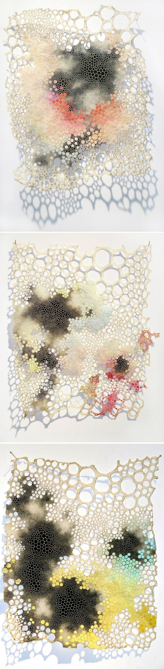 These pieces were created by Karen Margolis and they interest me because they remind me of something that has come out of the ocean suck as a sea sponge or coral. The holes in paper and the pale colours give that effect.