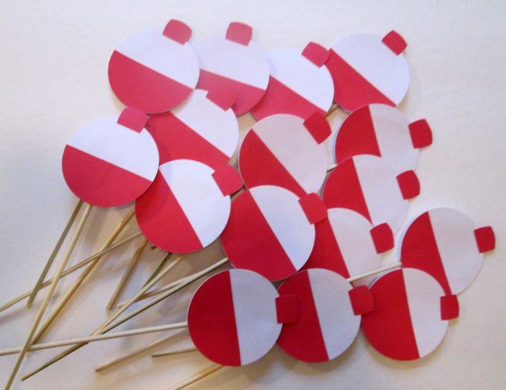 Fishing Bobber Cupcake Picks or Stirrers 12 pc. by hOOpladeeda on Etsy https://www.etsy.com/listing/191449515/fishing-bobber-cupcake-picks-or-stirrers