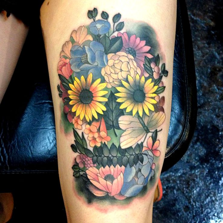 flower sugar skull tattoo - photo #10