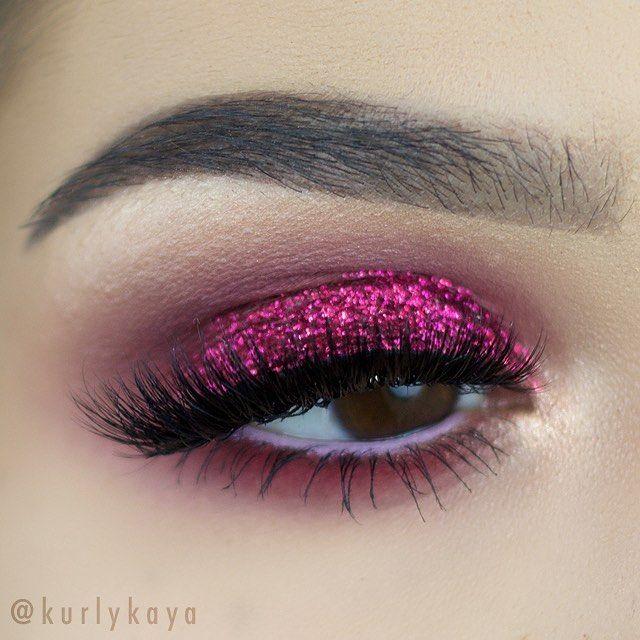 Pink glitter eye makeup-7222