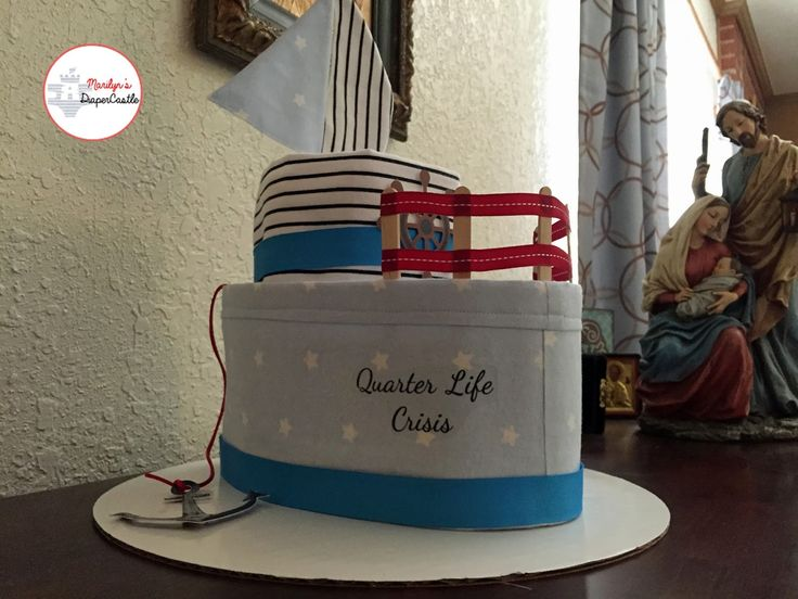 Hello, Baby Lovers!   It's been a while since I made a diaper cake.  I decided to make one that was shaped like a boat.      The boat and sa...