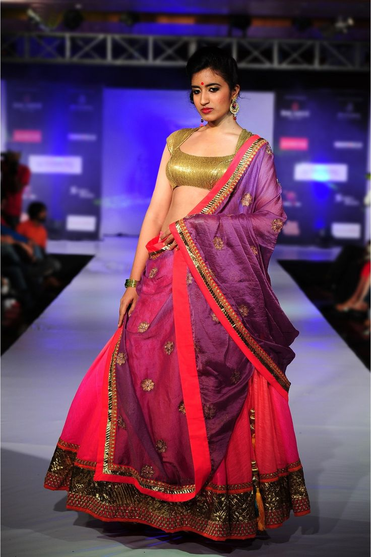 Pink Shaded Jute Silk #Lehenga With Gold #Blouse.