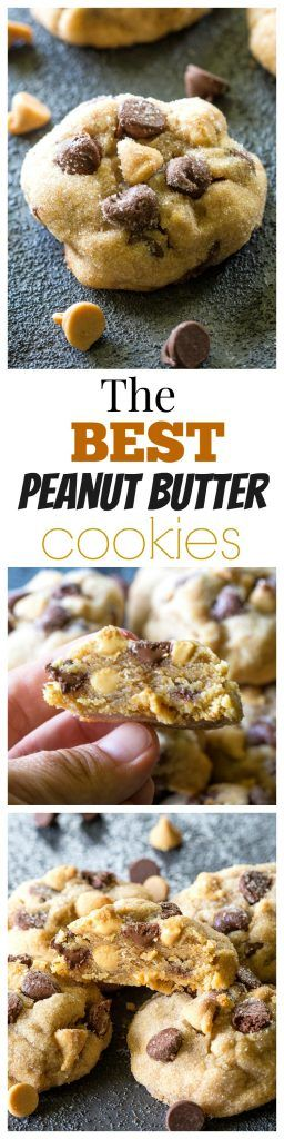 The Best Peanut Butter Cookies - studded with chocolate chips and peanut butter chips. the-girl-who-ate-...