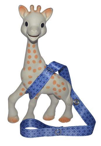 Toy along blue on sophie the giraffe  #toyleash #baby #toddler #stylish #babytoys #toys #toystrap #stroller #sophie #sophiethegiraffe