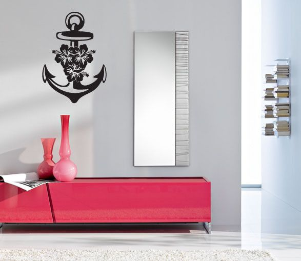 Ocean Ship Anchor and Hibiscus Silhouette Vinyl Wall Words Decal Sticker Graphic