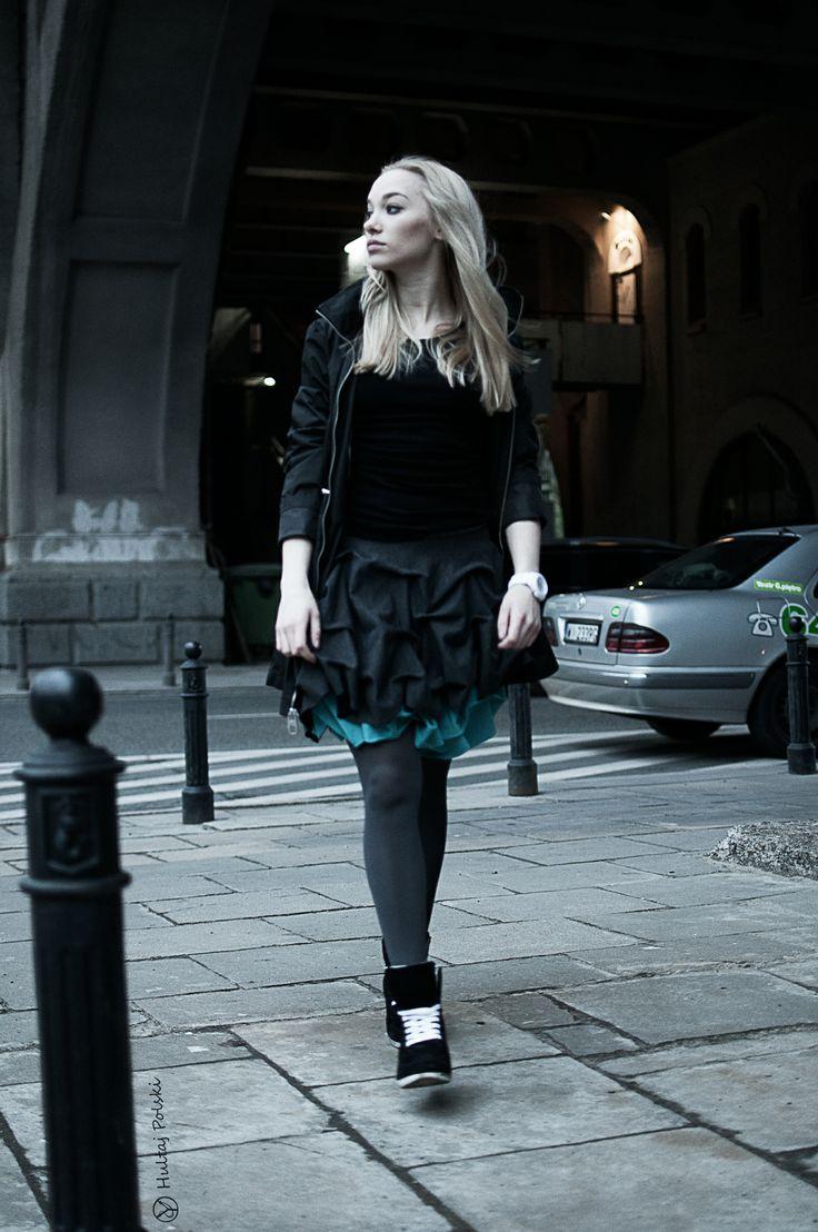 Spódnica podwójnie spieniona turkus mini damska #hultajpolski #modaulicy #modauliczna #streetfashion #womensfashion