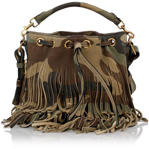 Saint Laurent Camouflage Printed Bucket Bag with Fringes (€745) ❤ liked on Polyvore featuring bags, handbags, shoulder bags, army green, camo purses, brown purse, brown fringe purse, fringe purse and camo handbags