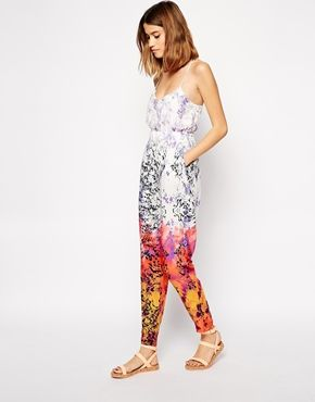 Image 1 of ASOS V Neck Jumpsuit In Ombre Animal Print