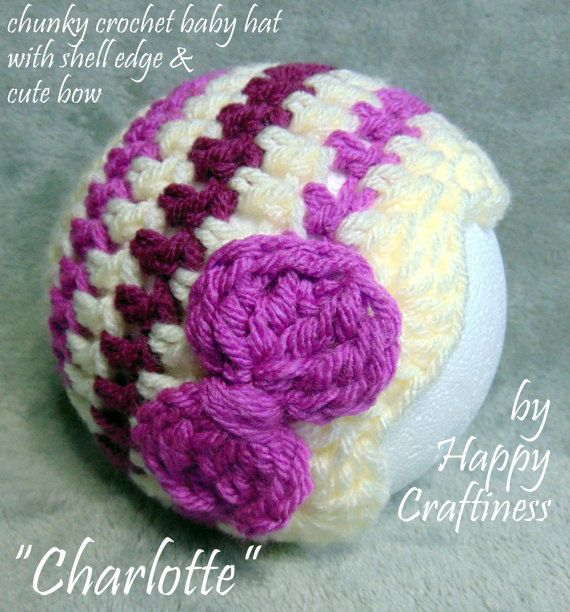 BABY GIRL HAT Chunky Crochet with shell edge & bow, Charlotte, Cute, Photo Prop, Baby Gift, Baby Shower, Birth, Christening, striped / plain