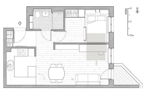 Mieszkanie we Wrocławiu - 41 m2; proj. Daria Piertyka - zdjęcie