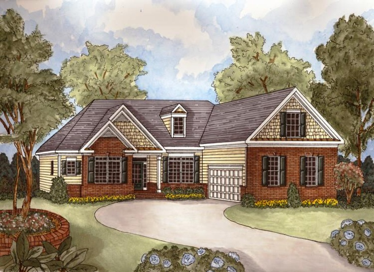 1000 images about one story home plans on pinterest the for Single story brick house plans