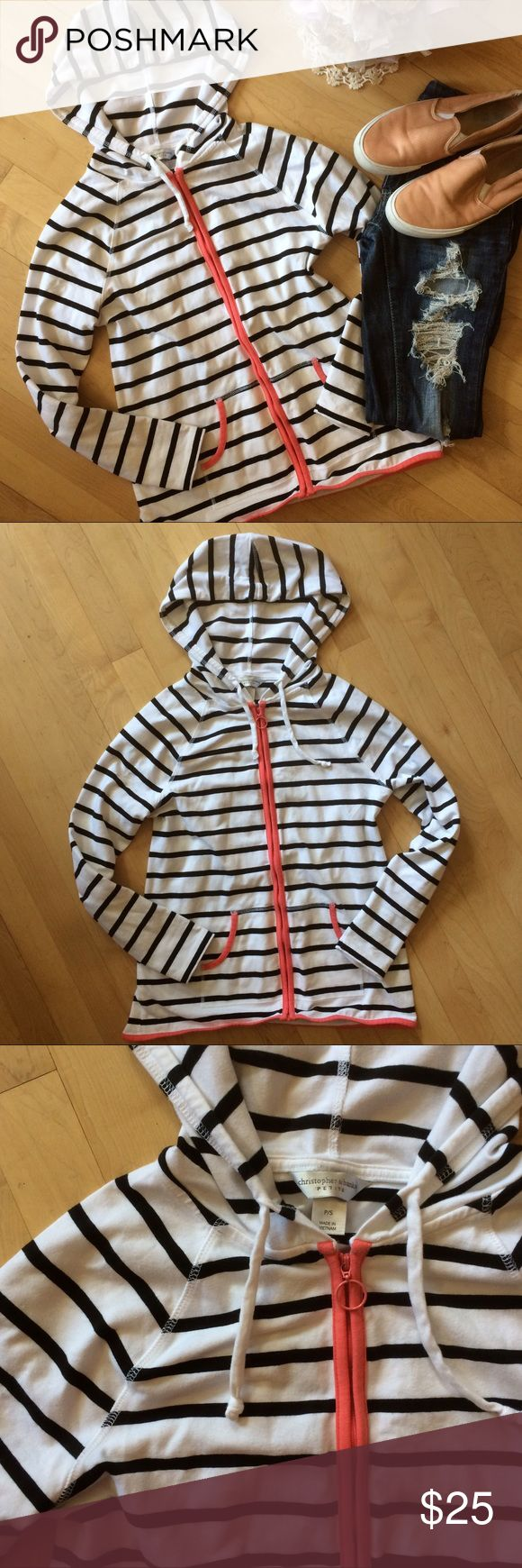 NWOT CUTEST BLack + white hooded zip up sweatshirt The cuuuuutest black and white Striped zip up hoodie. Coral lines the zipper and pockets, with a super cute circle zipper. This is NWOT- removed them and washed, and tried on a million times but never ended up wearing because it doesn't fit me quite right ☹️ someone else will LOVE it. Raglan style sleeves with hood. Drawstring hood. Christopher & Banks Tops Sweatshirts & Hoodies