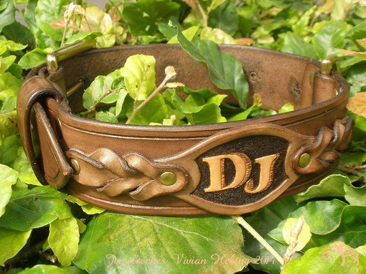 Jeweleeches Vivian Hebing handmade leather dog collar